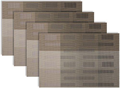 Secret Life(TM) Set of 4/6 Contemporary Art Design Table Dinner Woven Vinyl (Table Pockets Set)