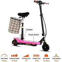 Leoneva Kids Girls 2-Wheel Mini Folding Electric Kick Scooter Bike with ABS, Retractable Seat, Detachable Basket-Hold, Age 13+