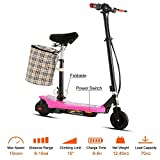 Leoneva Kids Girls 2-Wheel Mini Folding Electric Kick Scooter Bike with ABS, Retractable Seat, Detachable Basket-Hold, Age 13+ (Pink)