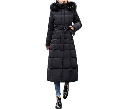 a543770d15 MODOQO Women's Long Down Coat with Fur Hood Plus Tall Warm Jacket Overcoat( Black,
