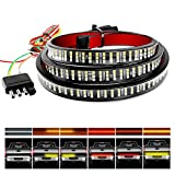 "Nilight TR-03 60"" Triple 504 LEDs Truck Tailgate Side Bed Light Bar Strip Sequential Amber Brake Running Turn Signal Red/White Reverse"