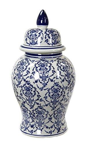 Sagebrook Home 11850 Ceramic Temple Jar, Blue/White Ceramic, 10 x 10 x 18.75 Inches