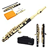 Golden Silver Black Brass C Piccolo with Case Cloth Lubricant