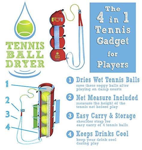 """Tennisball- Trockner - 4 -in-1 Tennis Zubehör - Als """"Bestes Tennis Gadget """" - Inklusive 4 tollen Funktionen in 1. Das perfekte Geschenk für jeden Tennisspieler"""