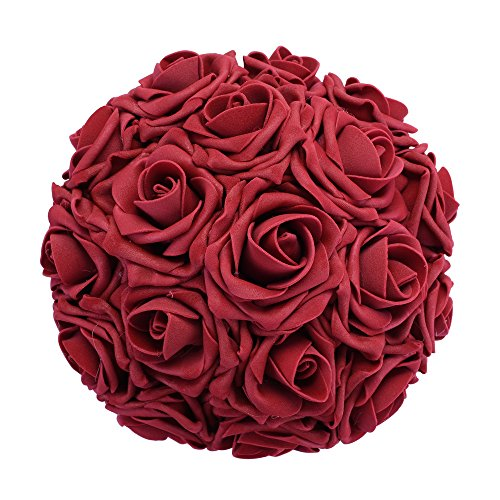 Febou Artificial Flowers, 50pcs Real Touch Artificial Foam Roses Decoration DIY for Wedding Bridesmaid Bridal Bouquets Centerpieces, Party Decoration, Home Display (Delicate Type, Dark Red)