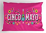 Lunarable Cinco De Mayo Pillow Sham, Mexican Fiesta Party Theme with Guitar Margarita Peppers and Flowers, Decorative Standard King Size Printed Pillowcase, 36 X 20 inches, Pink and Multicolor