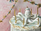 Glitterville Octopus Cake Topper Candle Holder with Gold Party Candles
