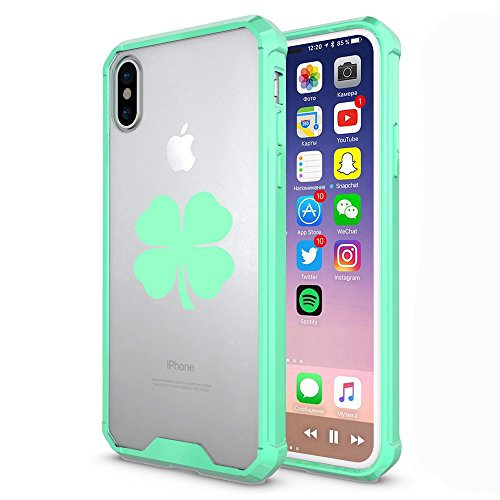 F0R Apple iPhone Clear Shockproof Bumper Case Hard Cover 4 Leaf Clover Shamrock (Mint, F0R Apple iPhone XR)