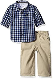 Calvin Klein Baby Shirt and Twill Pants Set, Blue, 3-6 Months
