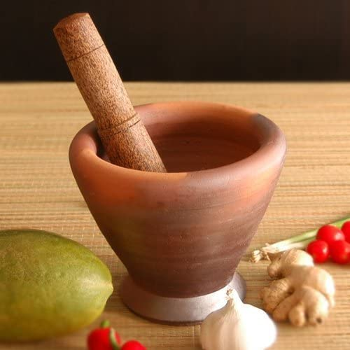 Thai /& Laos Kruk Grinding Earthenware Clay Mortar with Palm Wooden Pestle 6.75 Inches