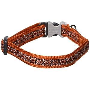 Red Dingo Designer Dog Collar, Small, Snake Eyes Orange