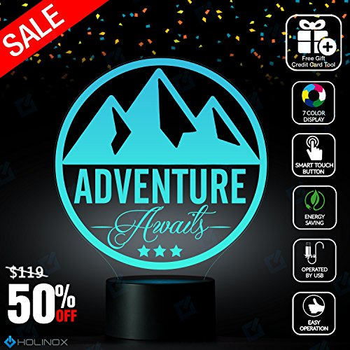 Adventure Awaits Mountain theme Lamp, Mountaineering lamp, Best Christmas Gift, Decoration lamp, 7 Color Mode, Awesome gifts - Macys Shore Jim