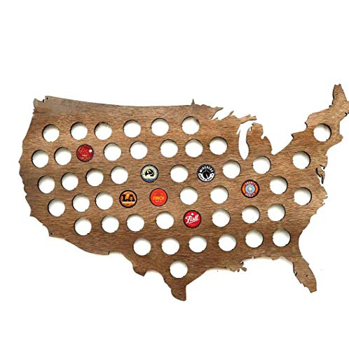 Ergode USA Beer Cap Map with Dark Stain, Craft Beer Cap Holder for Beer Lovers and Beer Cap