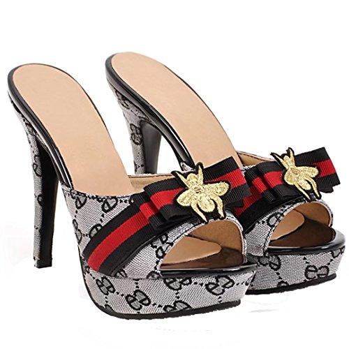 AIYOUMEI Damen High Heels Plateau Pantoletten mit Blumen Stiletto Sandalen Slipper Mules High Heels