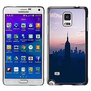 TopCaseStore / la caja del caucho duro de la cubierta de protección de la piel - State Sunset Blue Nyc New York - Samsung Galaxy Note 4 SM-N910