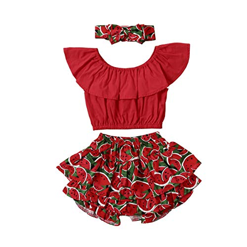 1-6Y Baby Kids Clothes Off Shoulder Ruffle Sleeveless Tops Solid T-Shirt Fruit Bow Ruffle Shorts 3Pcs Summer Outfit Set