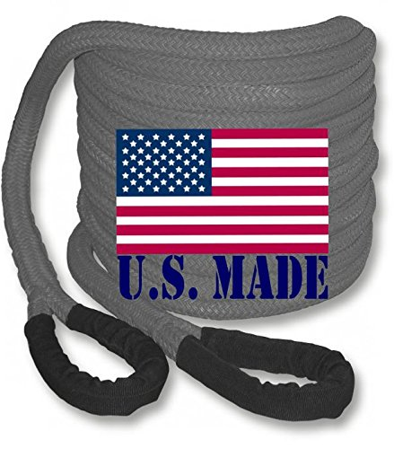 "U.S. made ""GUNMETAL GREY"" Safe-T-Line Kinetic Recovery (Snatch) ROPE – 1 inch X 30 ft (4X4 VEHICLE RECOVERY)"