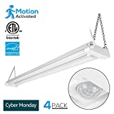 4 PACK 4ft Linkable LED Motion Activated Utility Shop Light, 40W (120W T8 Tubes Equiv.) LED Ceiling Fixture, 4100lm, ENERGY STAR & ETL Listed, 4000K Cool White, for Garage/Basement/Workshop