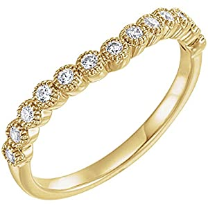 14k Yellow Gold 1/5 CTW Diamond Contour Band - Size 7
