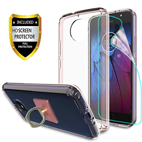 Motorola Moto G5S Clear Case With HD Screen Protector + Phone Stand,Ymhxcy [Anti-Scratch] [Shock Absorption] [Air Hybrid] Ultra Slim Bumper Cover For Motorola Moto G5S (2017) (5.2