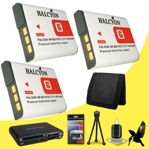 Three Halcyon 1400 mAH Lithium Ion Replacement NP-BG1 Battery + Memory Card Wallet + Multi Card USB Reader + Deluxe Starter Kit for Sony Cyber-shot DSC-H55 Digital Camera and Sony NP-BG1 by Halcyon