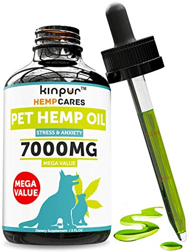 Hemp Oil for Dogs & Cats - 7000mg - Anxiety Relief for Dogs & Cats - Pet Hemp Oil - Supports Hip & Joint Health - Grown & Made in USA - Natural Relief for Pain - Omega 3, 6 & 9 from Kinpur