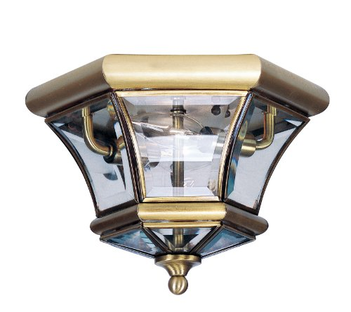 Livex Lighting 7052-01 Monterey/Georgetown 2 Light Ceiling Mount, Antique Brass ()