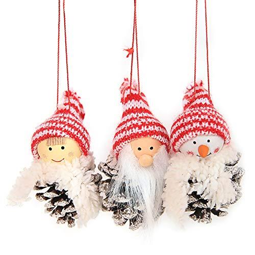Creaon 3 Christmas Hanger Adorable Christmas Elves Christmas Doll Pendant Handmade Creative Gingerbread Pattern Doll Pendant Decoration Christmas Tree Wall Hanging Gift Ornament ()