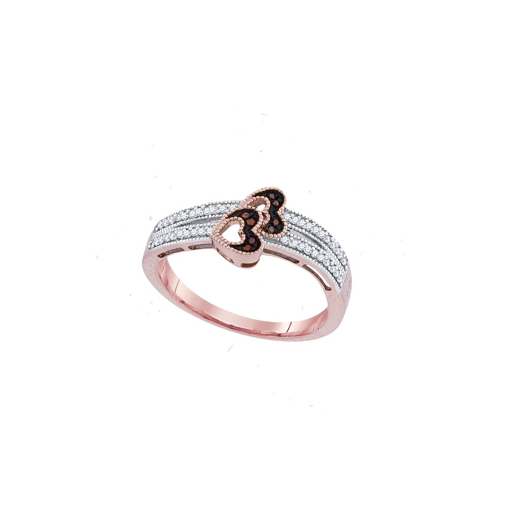 10kt Rose Gold Womens Round Red Colored Diamond Heart Love Ring 1/6 Cttw (I2-I3 clarity; Red color)