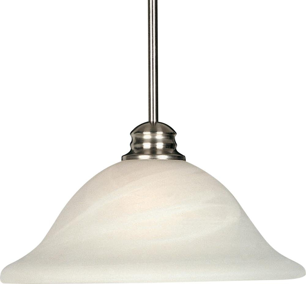 Maxim 91061MRSN Essentials 1-Light Pendant, Satin Nickel Finish, Marble Glass, MB Incandescent Incandescent Bulb , 100W Max., Dry Safety Rating, Standard Dimmable, Glass Shade Material, 10350 Rated Lumens