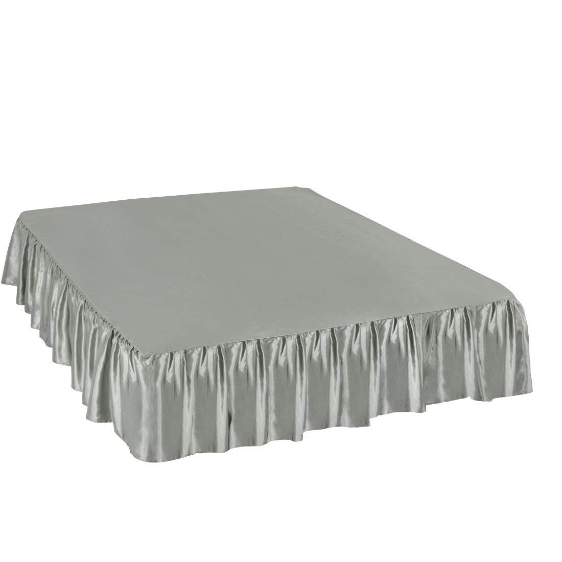 WINGS COLLECTION Fade Resistance Smooth Satin Silk 1 PC Dust Ruffle Bed Skirt 11 inch Drop (Silver Grey, Full Size) Fully Elastic for Easy Fit Single Ruffled Bedskirt by WINGS COLLECTION (Image #4)