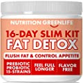 16-Day Weight Loss Fat Detox & Cleanse, Appetite Control with Garcinia, Fiber, Probiotics, Moringa, Inulin, Horsetail, Artichoke, Sugar Free with Stevia