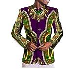 Winwinus Men Single Breasted Coat Slim Fitting Dashiki Africa Vogue Blazer 7 L