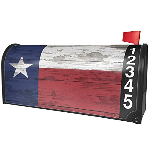 NEONBLOND Flag on Wood Texas Region: America (USA) Magnetic Mailbox Cover Custom Numbers by NEONBLOND