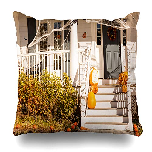 KJONG House Halloween Holiday Porch Door Front Pumpkin Square DecorativePillow Case 18 x 18inch Zippered Pillow Cover Bedroom Living Room(Two Sides Print) for $<!--$9.99-->