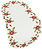Xia Home Fashions Poinsettia Lace Embroidered Cutwork Christmas Table Runner, 16 by 34-Inch