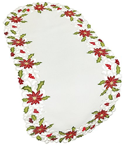 (Xia Home Fashions Poinsettia Lace Embroidered Cutwork Christmas Table Runner, 16 by 34-Inch )