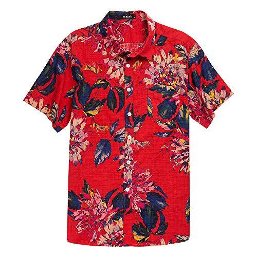 MCEDAR Men's Hawaiian Short Sleeve Shirt Aloha Flower Print Casual Button Down Beach Shirts (L, Flower Red)
