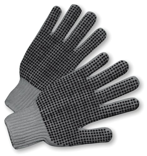 Dotted Gloves Pvc Work - West Chester 708SKBSLG Ladies Gray String Knit Dotted 2 Sides Glove - Standard, 12 Pairs