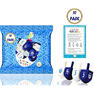 Hanukkah Dreidel Bulk Solid Blue & White Wooden Dreidels Hand Painted - Includes Game Instruction Cards! (10-Pack)