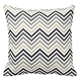 BabysSJ Polyester Gray and Linen Beige Chevron Pattern with Monogram Pillowcases