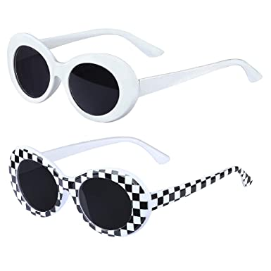Haichen Retro Clout Oval Goggles Mod Thick Frame Round Lens Sunglasses for Women Men Teenager Girl Boy