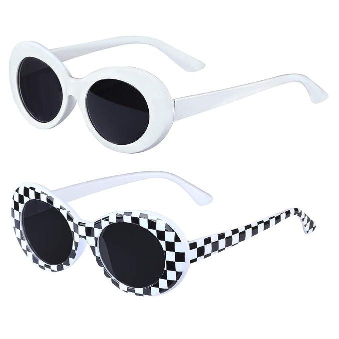 Haichen Retro Clout gafas ovaladas Mod marco grueso gafas de ...