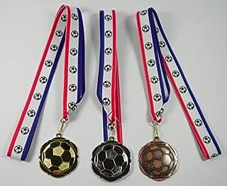 Personnalisée Lot de 3rubans de football médailles R/W/B avec motif ballon de football