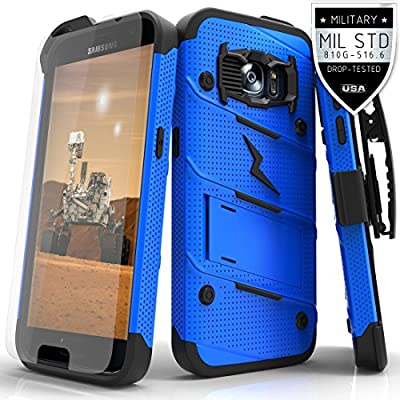 Samsung Galaxy S7 Case, Zizo [Bolt Series] w/ FREE [Galaxy S7 Screen Protector] Kickstand [Military Grade Drop Tested] Holster Clip - Galaxy S7 G930