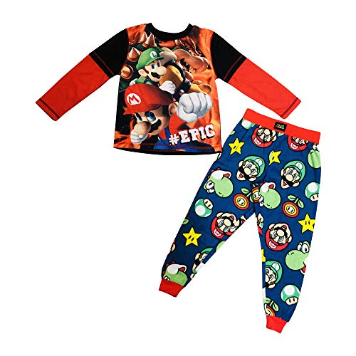 #Epic Super Mario, Browser, Luigi Soft Knit Thermal Long Sleeve TOP with Yoshi, Mario, Fleece Skinny Leg Pajama Bottom (S)