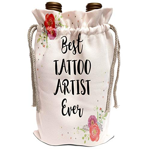 3dRose InspirationzStore - Love Series - Floral Best Tattoo Artist Ever watercolor pink flowers tattooist gift - Wine Bag (wbg_317290_1)