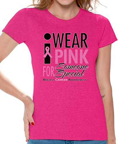 Pink Womens T-shirt Cancer Survivor (Awkward Styles Women's I Wear Pink for Someone Special T-Shirt Cancer Shirt + Cancer Necklace L Pink)