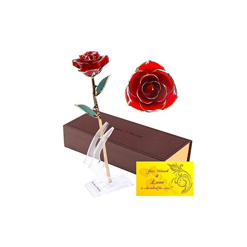 silk flower arrangements durarose authentic rose with stand and love card, stem dipped in 24k gold - best gift for loves ones. ideal for valentine's day, mother's day, anniversary, birthday, (adorable red)