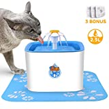CCJK Cat Fountain, 2.5L Healthy Hygienic Dog Water Dispenser,Ultra Quiet Pet Fountain add a Silicone Mat 3 Carbon Filters
